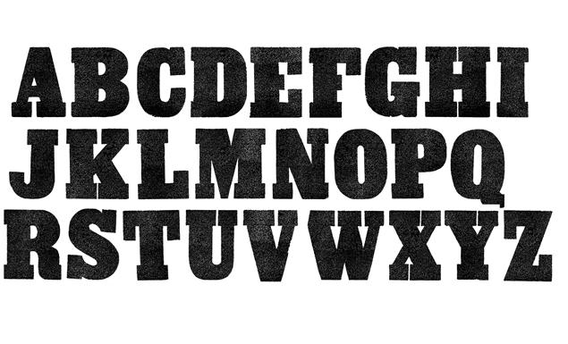 Vintage Letterpress Slab Font Texture Pack