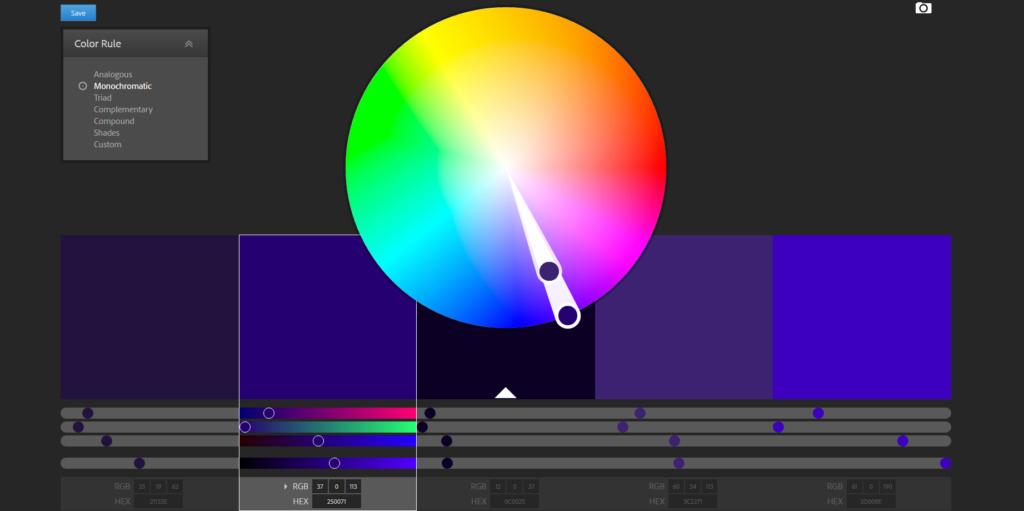 Color wheel Color schemes Adobe Color CC mono