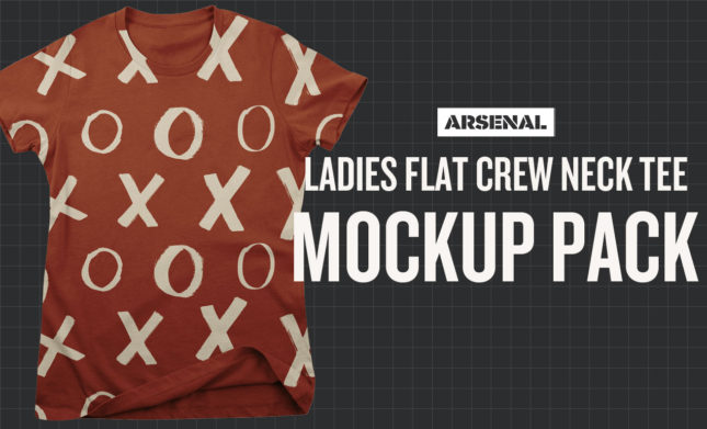 Ladies Flat Crew Neck T-Shirt Mockup Template Pack