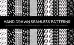 Monochromatic Hand Drawn Seamless Patterns