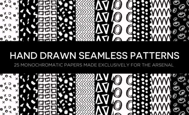 Monochromatic Hand Drawn Seamless Patterns