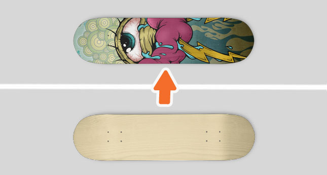 skateboard deck mockup template