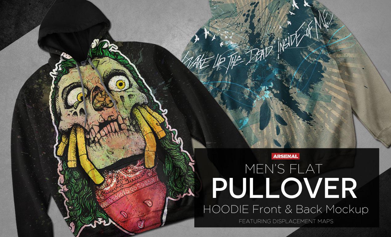 Flat Pullover Hoodie Mockup Templates