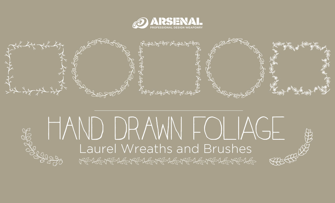 Hand Drawn Foliage Laurel Wreaths and Brushes Pack