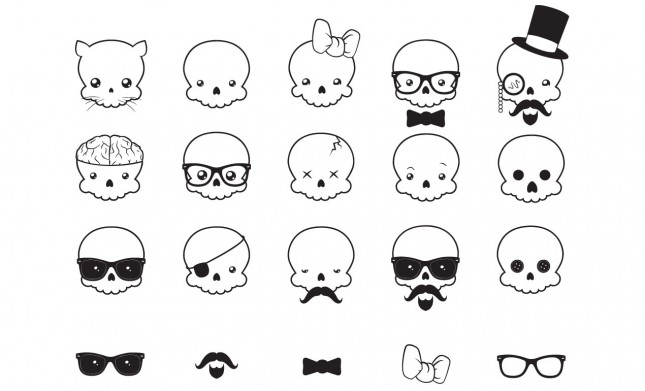 Kawaii Skull Vector Pack