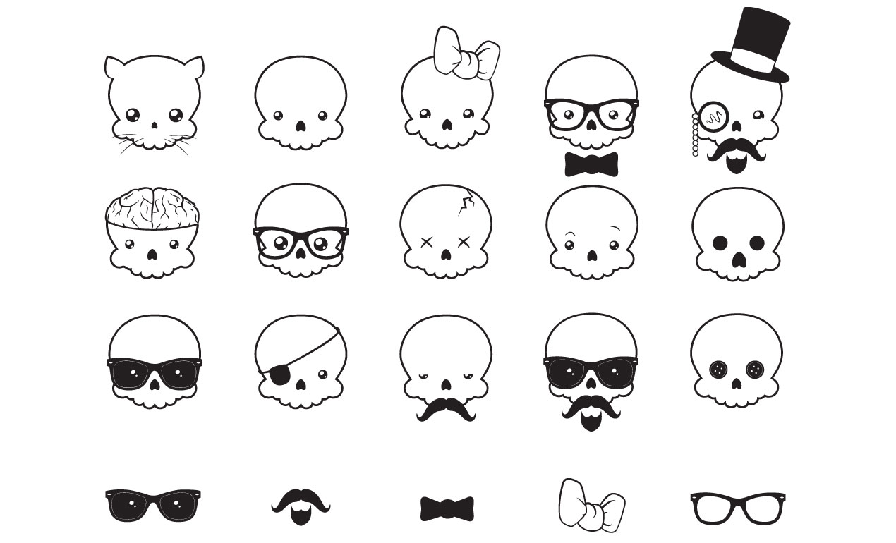 Justin Sobotas Skull Vector Pack on simple gear cartoon