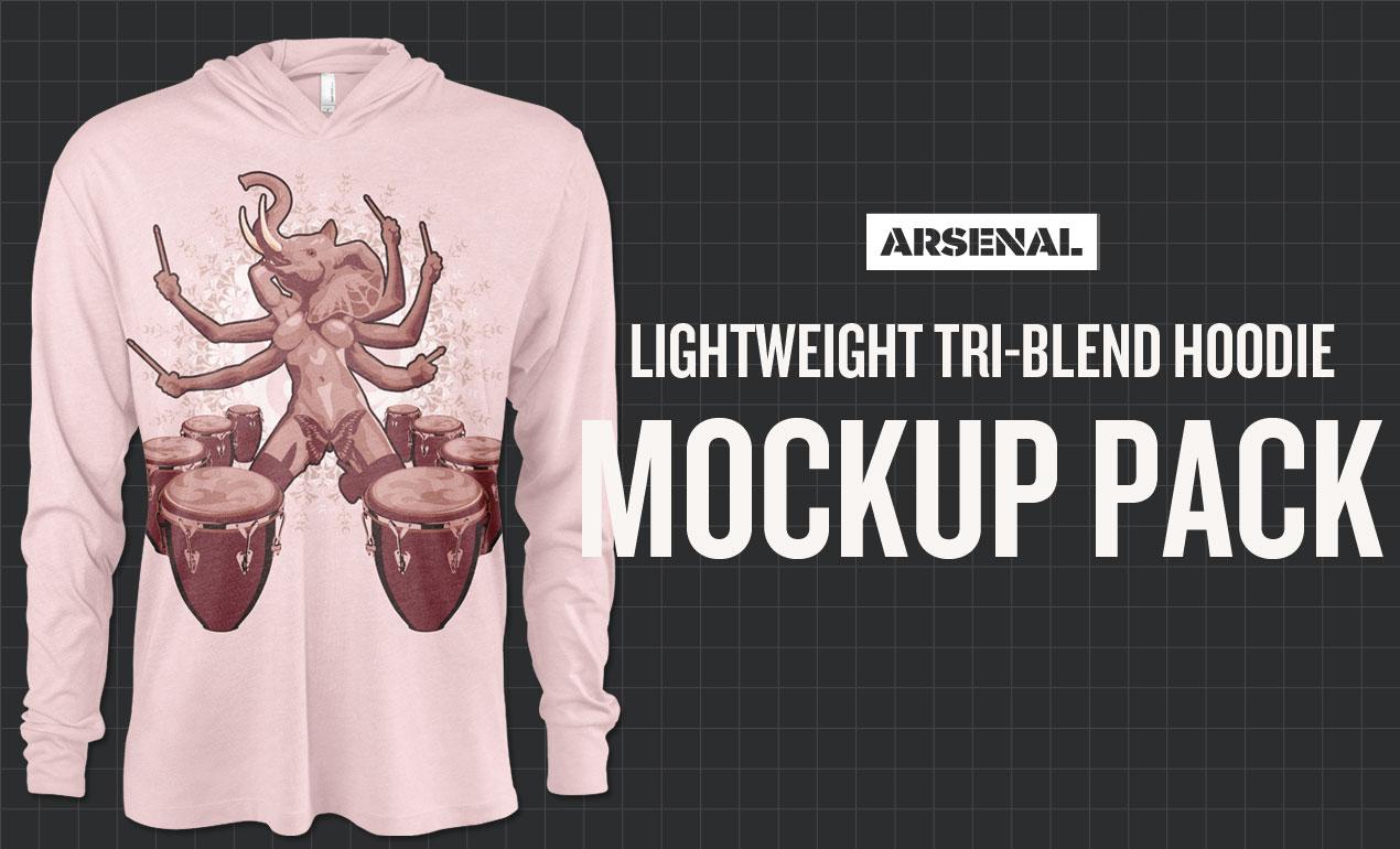 triblend pullover hoodie mockup
