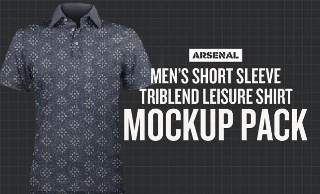 Men's Short Sleeve Triblend Leisure Shirt Mockup