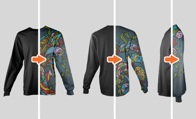 Front Side And Back Mockup Template Go Medias Arsenal - Long sleeve t shirt template