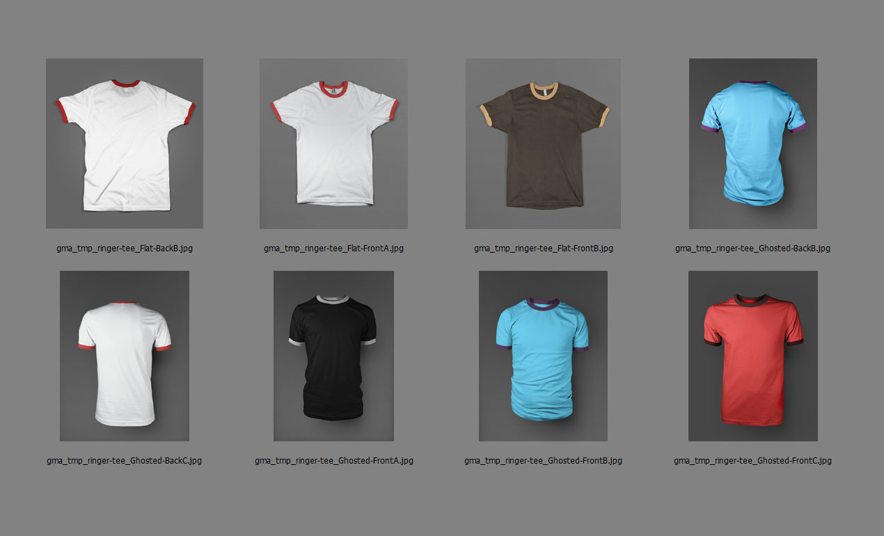 Photoshop ringer t shirt mockup templates pack for Wordpress t shirt store theme free