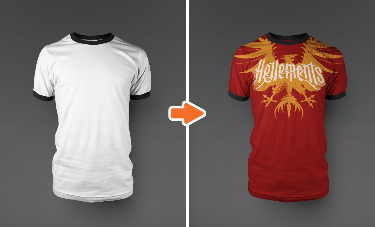 Photoshop Ringer T-Shirt Mockup Templates Pack