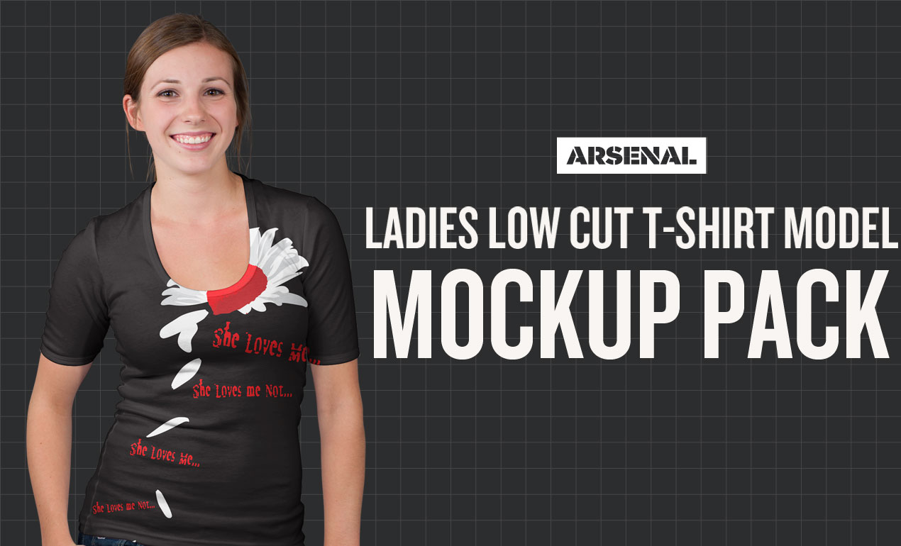 Ladies Low Cut T-Shirt Model Mockup Templates Pack