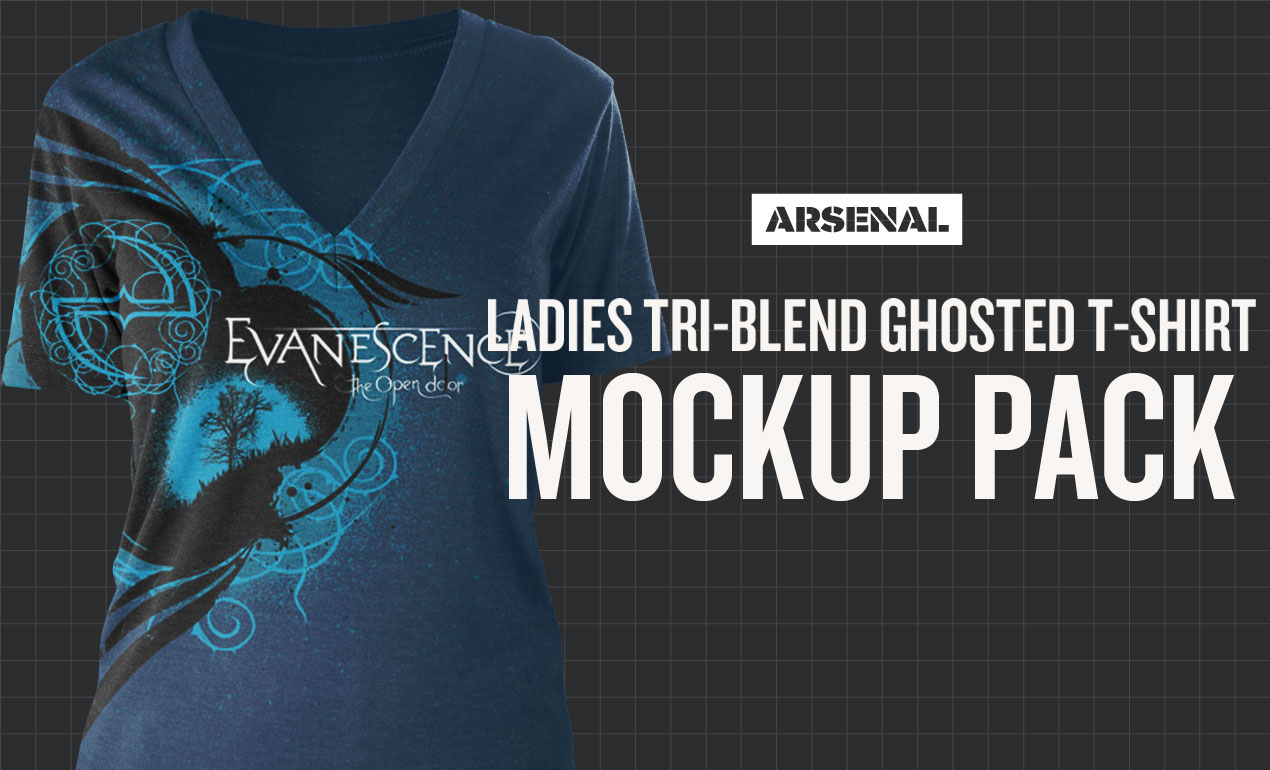 Ladies Tri-blend Ghosted T-Shirt Mockup