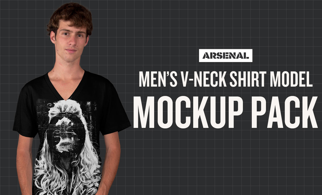 Men's V-Neck T-Shirt Model Mockup Templates Pack