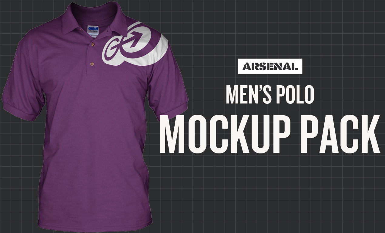 b4efa423 Photoshop Men's Polo Mockup Templates Pack.  Template_HeroIMG_Arsenal_Mockups-Men's-Polo