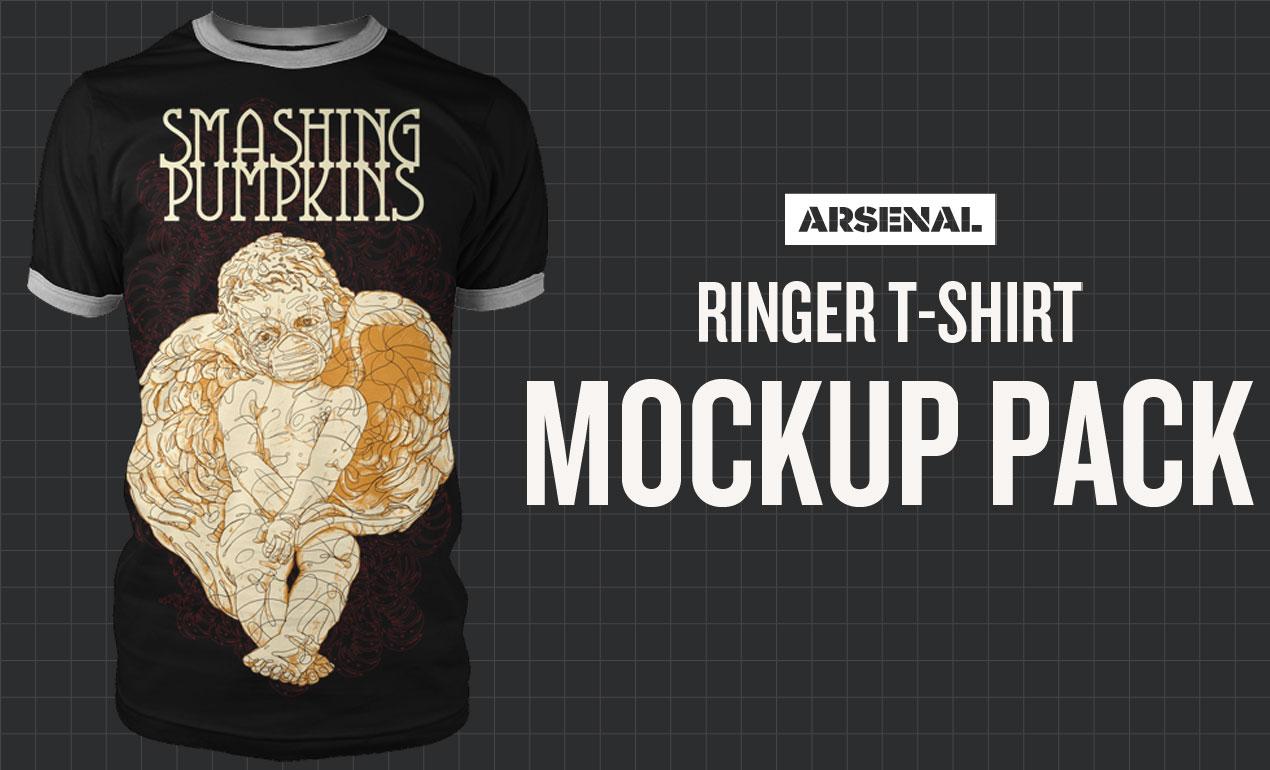 Photoshop Ringer T-Shirt Mockup Templates Pack