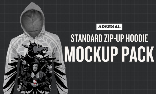 Photoshop Standard Zip-Up Hoodie Mockup Templates Pack