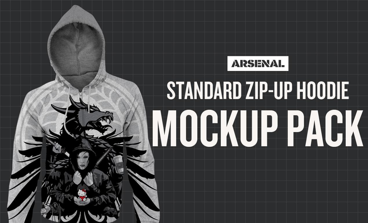 Photoshop Standard Zip Up Hoodie Mockup Templates Pack