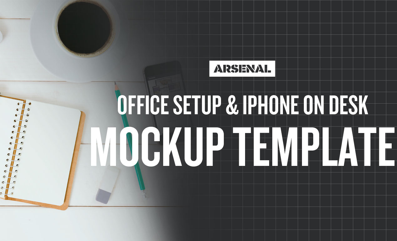 Office Setup and iPhone on Desk Branding Mockup