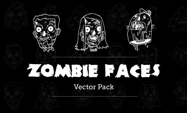 Zombie Faces Vector Pack on Go Media's Arsenal