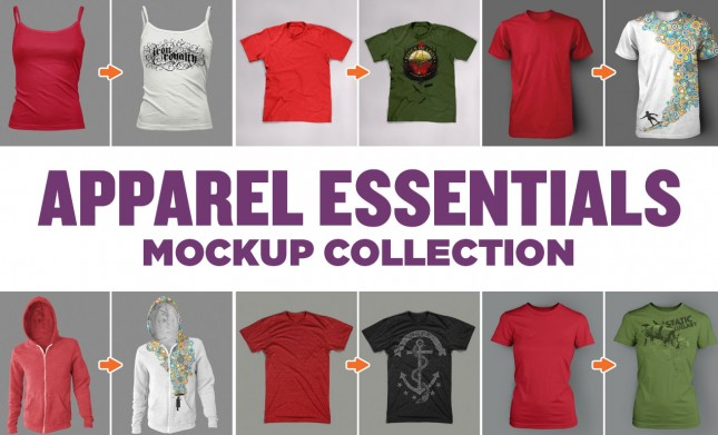 Photoshop Apparel Mockup Template Essentials Collection By Go Media