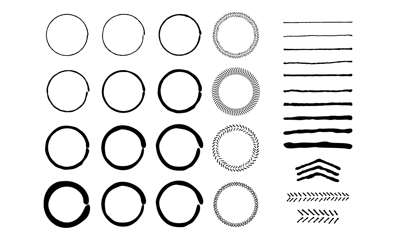 Hand Drawn Circles and Lines Vector Pack