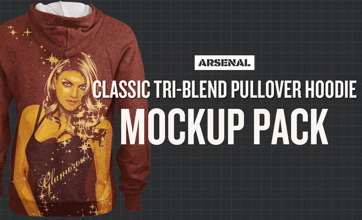 Tri-Blend Pullover Hoodie Mockup Pack