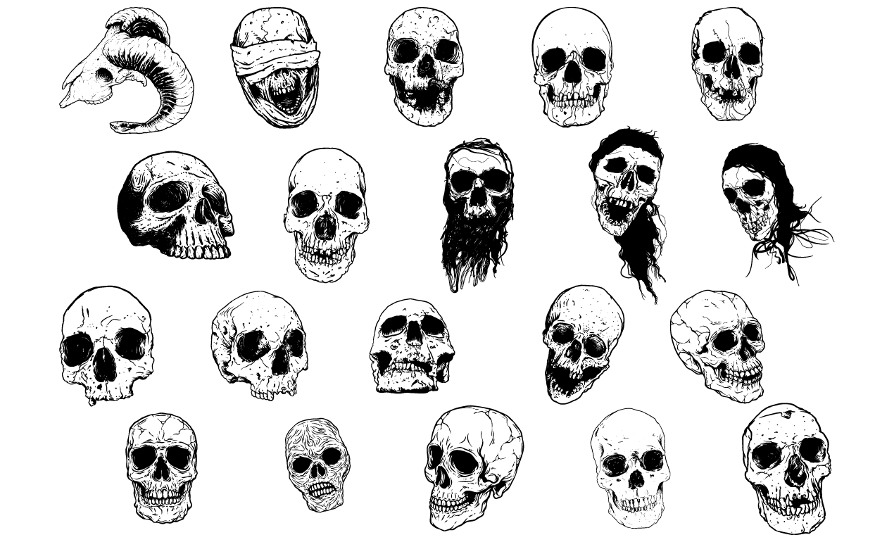 hand illustrated skulls vector pack rh arsenal gomedia us punisher skull vector art free skull vector art