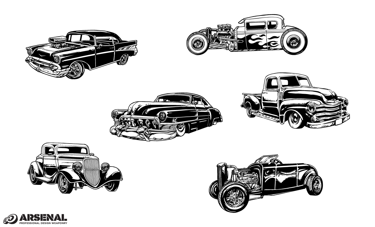 Vintage Cars Vector Pack From Go Media S Arsenal