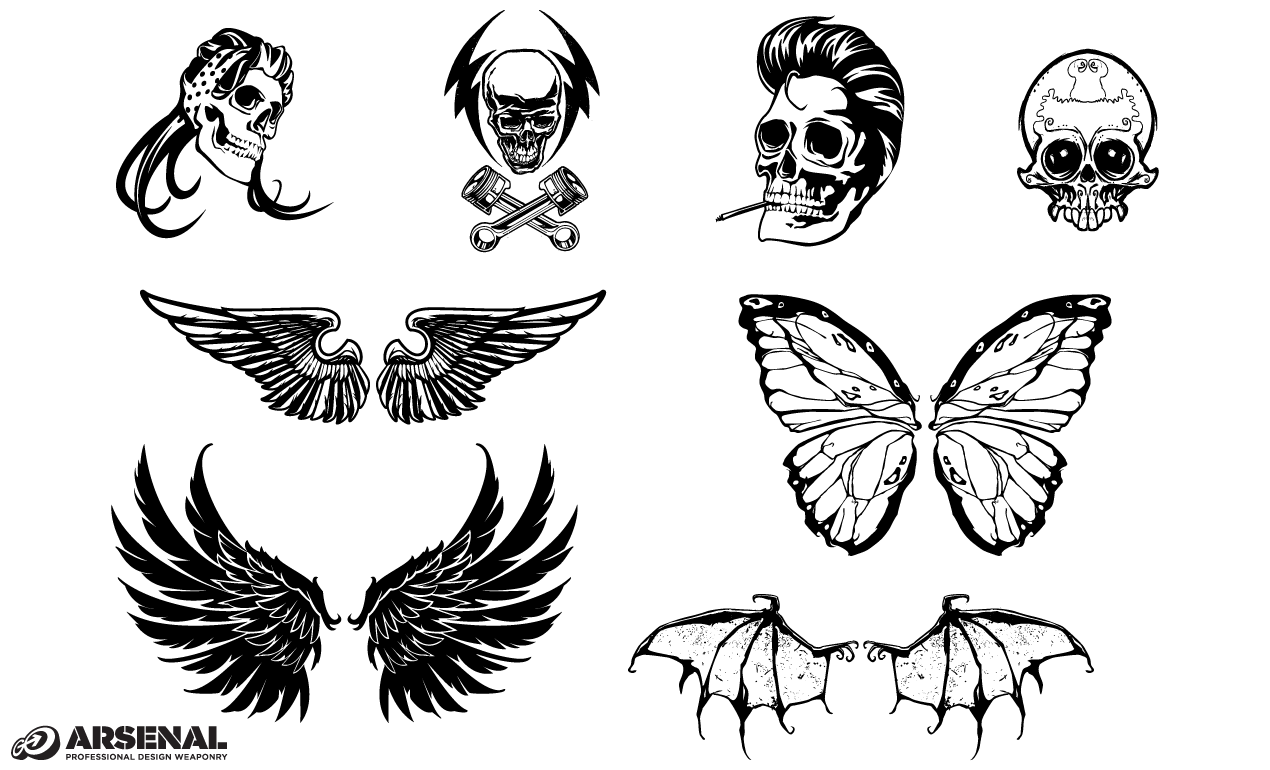 Skull amp Wing Vector Pack By Go Medias Arsenal
