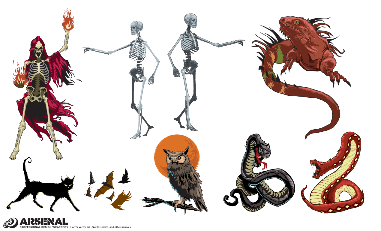 Snakes And Skulls Halloween Vector Pack By Go Media Snake Skeleton Diagram The Skull At Very