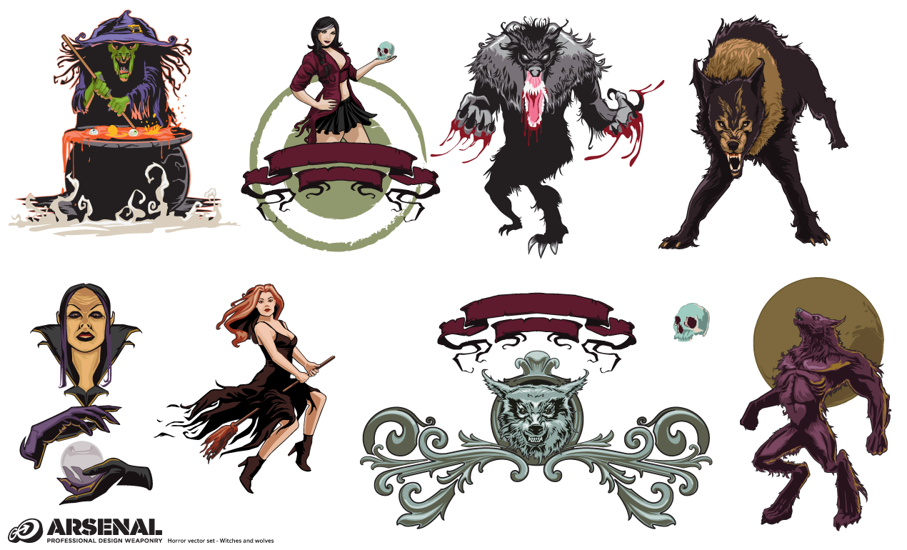 Witches and Wolves Halloween Vector Pack
