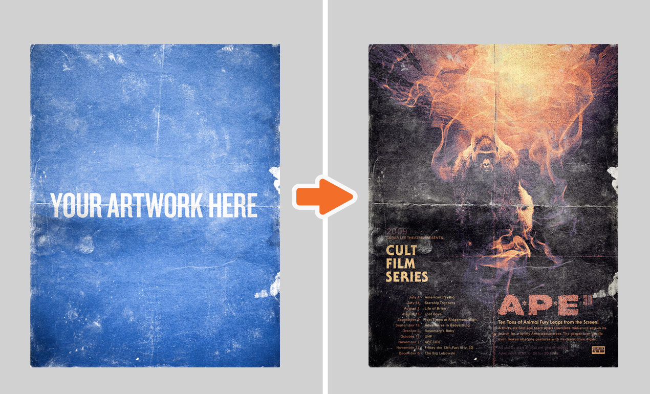Distressed Poster Mockup Templates Pack