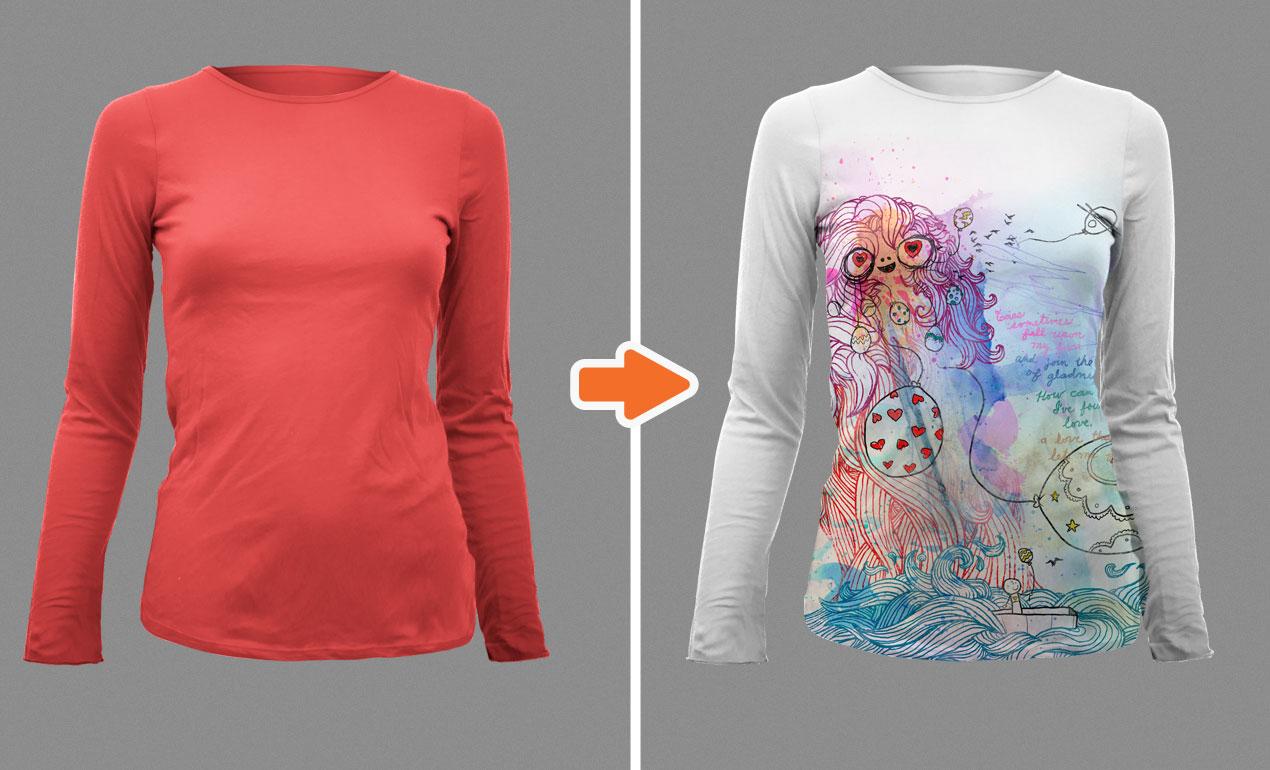 Shirt design photoshop template -  Adobe Photoshop Template Ladies Ls Templates2