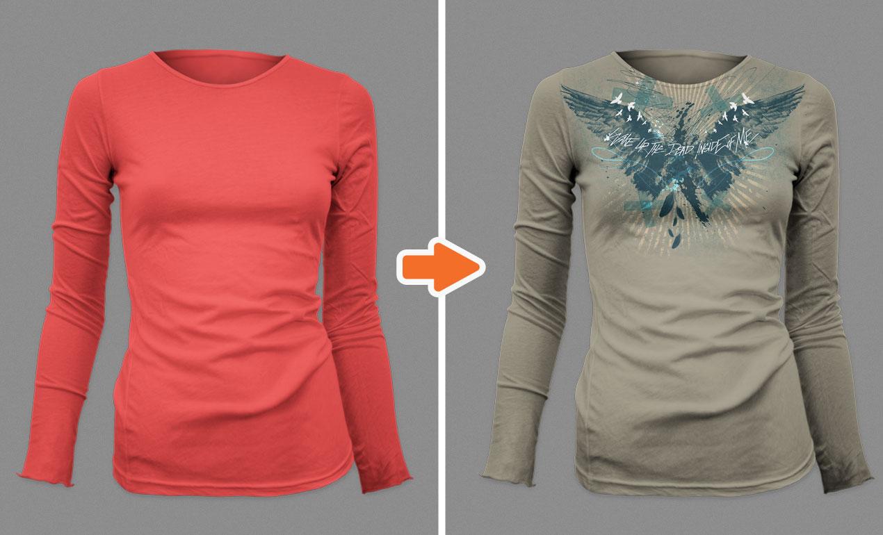Photoshop ladies long sleeve shirt mockup templates pack for Woman t shirt mockup