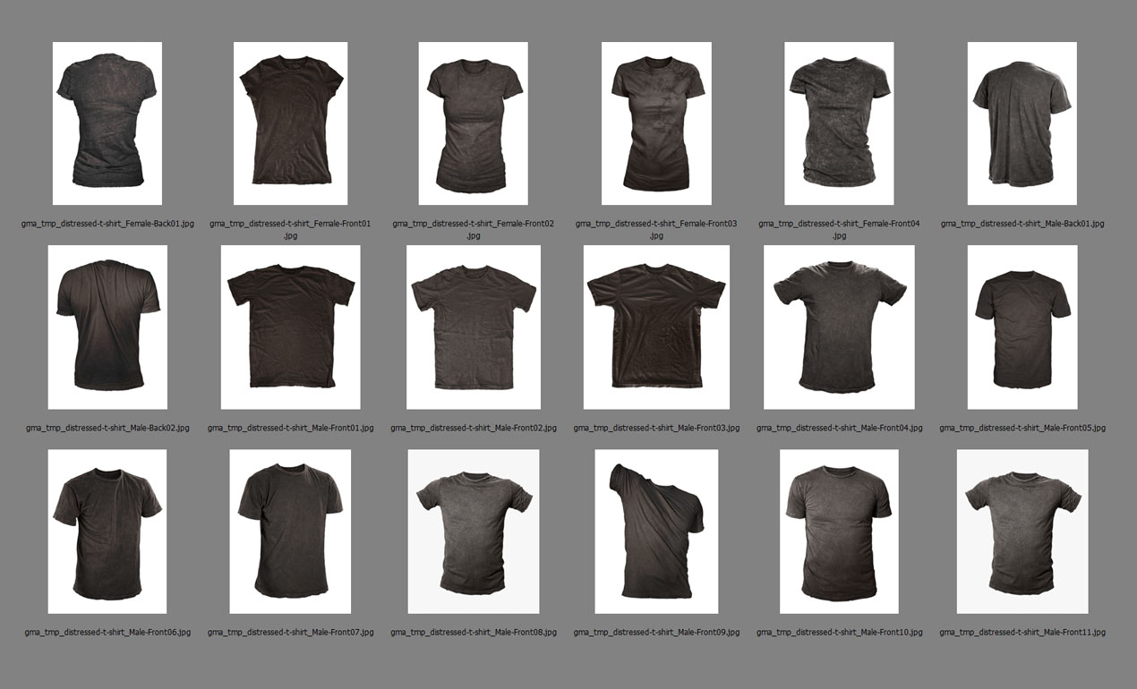 Photoshop Templates: Photoshop Distressed Shirt Mockup Templates Pack