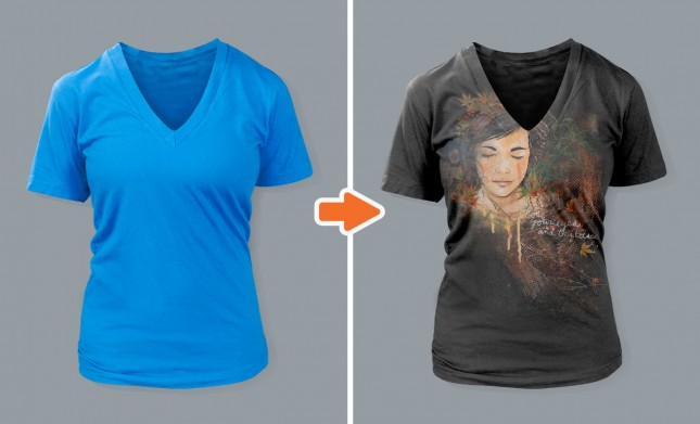 Ladies Deep V-Neck T-Shirt Mockup Templates Pack