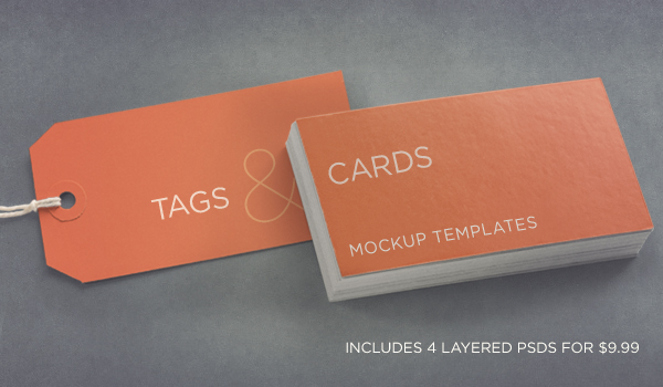 Photoshop Tags & Cards Mockup Templates Pack