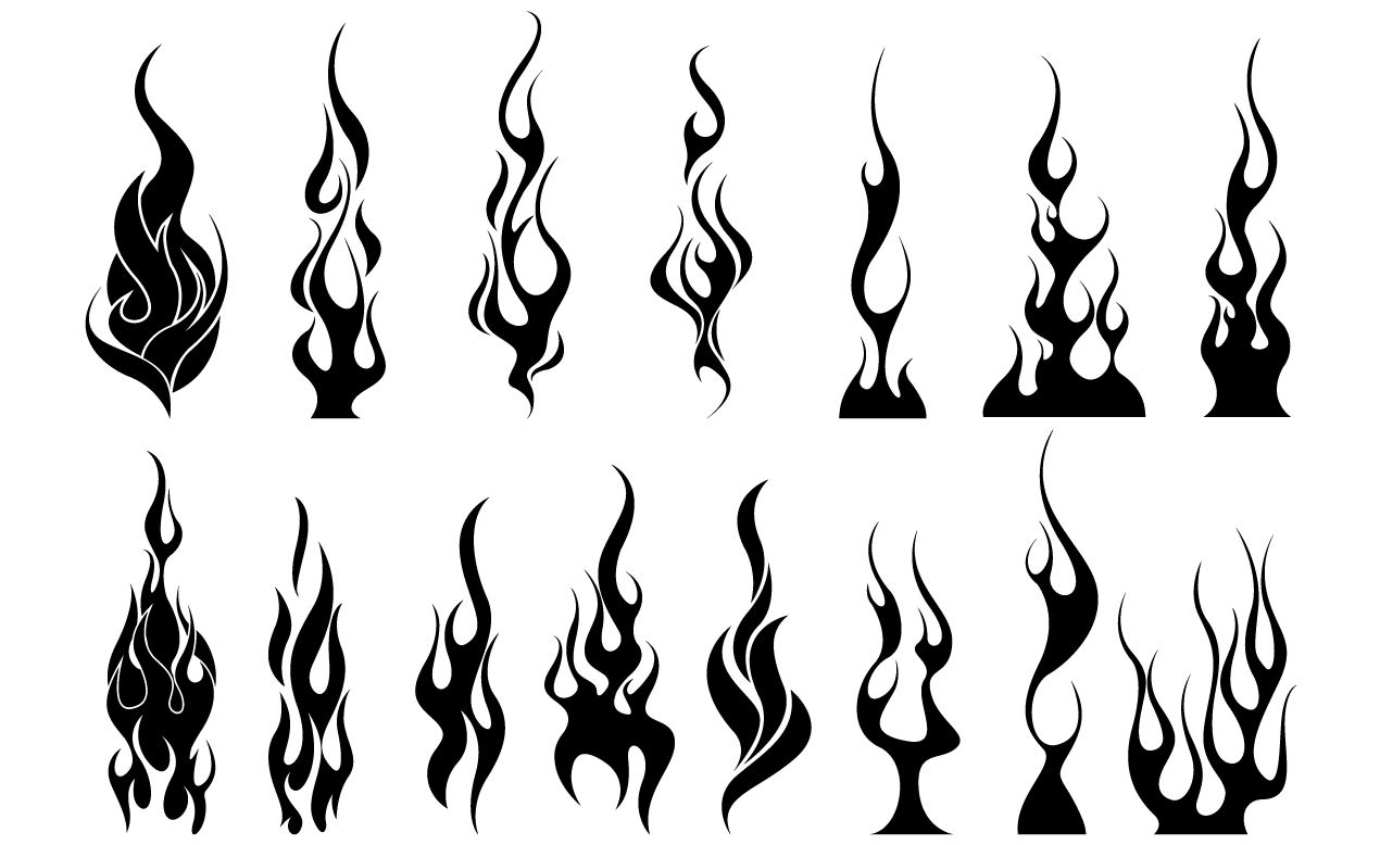 Flames vector pack for Black and white flame tattoo