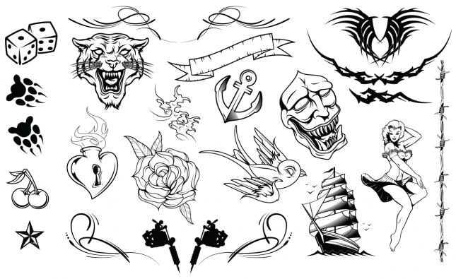 Adobe Illustrator Vector Set 10 Tattoos Preview All