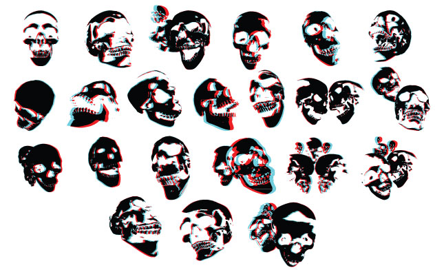 Adobe Illustrator Vector Set 13 3dskulls Preview All