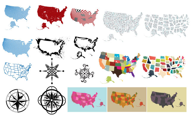 Maps of the USA Vector Pack for Adobe Illustrator