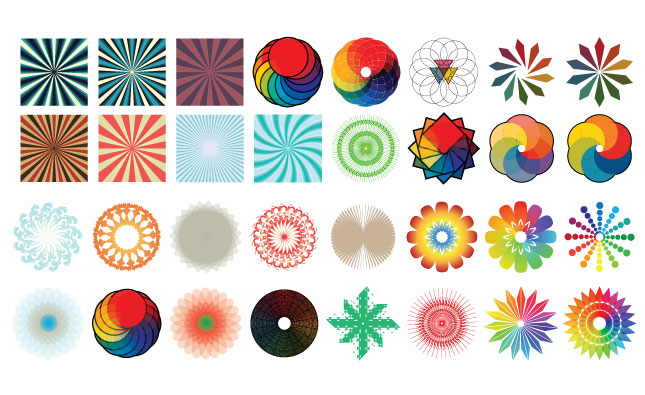Adobe Illustrator Vector Set 16 Color Radials Preview All