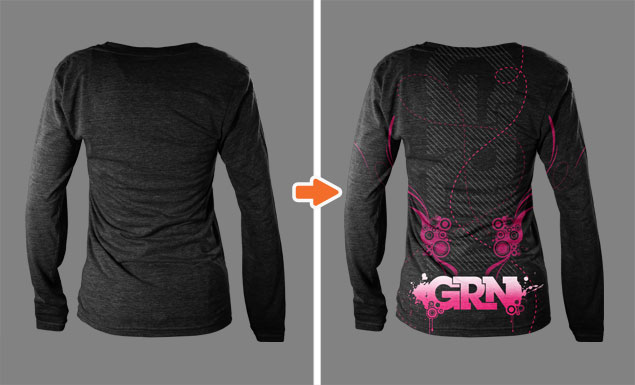 Ladies Triblend Ghosted TShirt Mockup - Long sleeve t shirt template