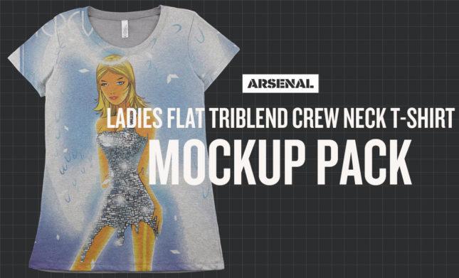 Ladies Flat Triblend Mockup T-Shirt Pack