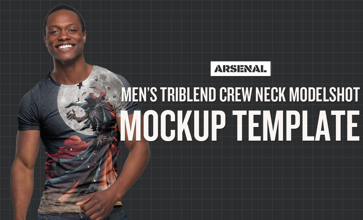 Men S Triblend Crew Neck Modelshot T Shirt Mockup 4 99