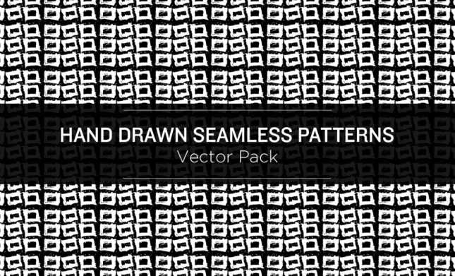 Monochromatic-Hand-Drawn-Seamless-Patterns