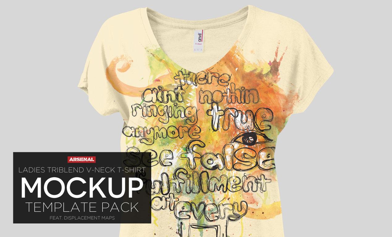 Ladies Triblend V-Neck T-Shirt Mockup Template Pack