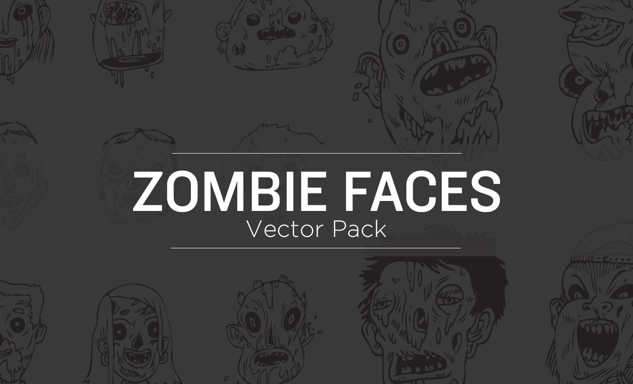 Zombie Faces Vector Pack