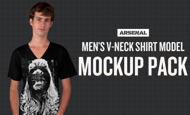 Men's V-Neck T-Shirt Model Mockup Templates Pack